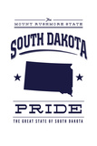 South Dakota State Pride - Blue on White Prints by  Lantern Press