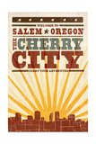 Salem, Oregon - Skyline and Sunburst Screenprint Style Poster by  Lantern Press