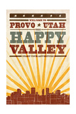 Provo, Utah - Skyline and Sunburst Screenprint Style Print by  Lantern Press