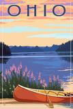 Ohio - Canoe and Lake Prints by  Lantern Press