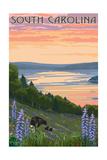 South Carolina - Lake and Bear Family Posters by  Lantern Press