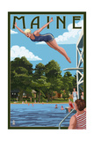 Maine - Woman Diving and Lake Poster by  Lantern Press