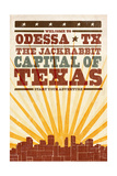 Odessa, Texas - Skyline and Sunburst Screenprint Style Prints by  Lantern Press