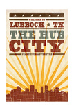 Lubbock, Texas - Skyline and Sunburst Screenprint Style Prints by  Lantern Press