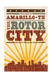 Amarillo, Texas - Skyline and Sunburst Screenprint Style Prints by  Lantern Press