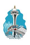 Seattle, Washington - Space Needle - Cartoon Icon Poster by  Lantern Press