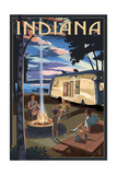 Indiana - Retro Camper and Lake Posters by  Lantern Press