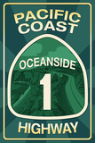Highway 1, California - Oceanside - Pacific Coast Highway Sign Prints by  Lantern Press
