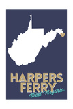 Harpers Ferry, West Virginia - State Outline and Heart Posters by  Lantern Press