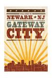 Newark, New Jersey - Skyline and Sunburst Screenprint Style Prints by  Lantern Press