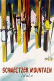 Schweitzer Mountain, Idaho - Colorful Skis Art by  Lantern Press