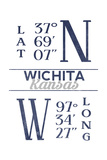 Wichita, Kansas - Latitude and Longitude (Blue) Posters by  Lantern Press