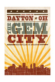 Dayton, Ohio - Skyline and Sunburst Screenprint Style Poster by  Lantern Press