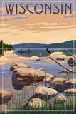 Wisconsin - Lake Sunrise Scene Posters by  Lantern Press