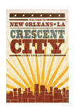New Orleans, Louisiana - Skyline and Sunburst Screenprint Style Art by  Lantern Press
