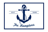The Hamptons, New York - Blue and White Anchor Prints by  Lantern Press