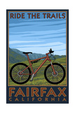 Fairfax, California - Ride the Trails - Blue Sky Prints by  Lantern Press