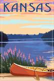 Kansas - Canoe and Lake Poster by  Lantern Press