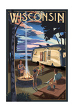 Wisconsin - Retro Camper and Lake Posters by  Lantern Press