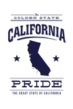 California State Pride - Blue on White Prints by  Lantern Press