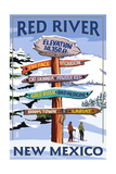 Red River, New Mexico - Destinations Signpost Posters by  Lantern Press