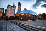 Chicago, Illinois - Skyline and Bean Print by  Lantern Press