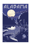 Alabama - Lake at Night Prints by  Lantern Press