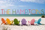 The Hamptons, New York - Colorful Beach Chairs Posters by  Lantern Press