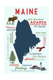 Maine - Typography and Icons Print by  Lantern Press