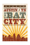 Austin, Texas - Skyline and Sunburst Screenprint Style Prints by  Lantern Press