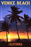 Venice Beach, California - Palms and Sunset Posters by  Lantern Press