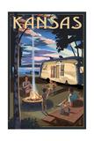 Kansas - Retro Camper and Lake Prints by  Lantern Press