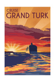 Cruise Grand Turk - Lithography Style Posters by  Lantern Press