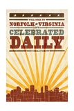 Norfolk, Virginia - Skyline and Sunburst Screenprint Style Poster by  Lantern Press