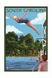 South Carolina - Woman Diving and Lake Prints by  Lantern Press