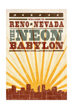 Reno, Nevada - Skyline and Sunburst Screenprint Style Posters by  Lantern Press