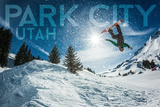 Park City, Utah - Snowboarder Jumping Art by  Lantern Press