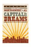 Montgomery, Alabama - Skyline and Sunburst Screenprint Style Print by  Lantern Press