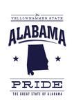 Alabama State Pride - Blue on White Prints by  Lantern Press