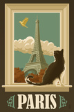 Paris, France - Eiffel Tower and Cat Window Art by  Lantern Press