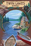 Twin Lakes, Idaho - Cabin on Lake Montage Posters by  Lantern Press