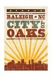 Raleigh, North Carolina - Skyline and Sunburst Screenprint Style Prints by  Lantern Press