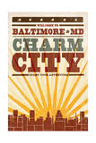 Baltimore, Maryland - Skyline and Sunburst Screenprint Style Poster by  Lantern Press