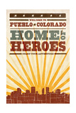 Pueblo, Colorado - Skyline and Sunburst Screenprint Style Posters by  Lantern Press