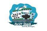 Seattle, Washington - Puget Sound - Cartoon Icon Posters by  Lantern Press