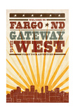 Fargo, North Dakota - Skyline and Sunburst Screenprint Style Poster by  Lantern Press