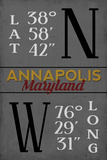Annapolis, Maryland - Latitude and Longitude (MD Colors) Prints by  Lantern Press