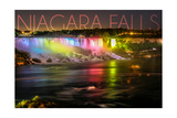 Niagara Falls - American Falls and Rainbow Lights Posters by  Lantern Press