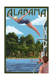 Alabama - Woman Diving and Lake Poster by  Lantern Press