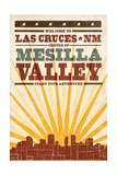 Las Cruces, New Mexico - Skyline and Sunburst Screenprint Style Prints by  Lantern Press